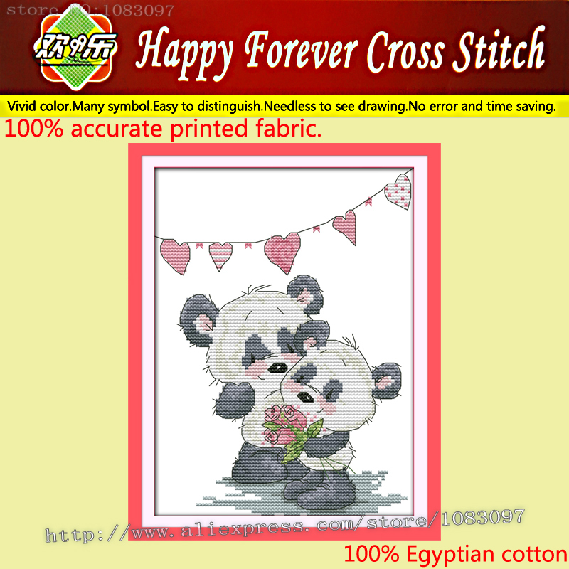 New arrival,Two bears' love , panda Home Decor,11CT printing on the canvas embroidery Cross Stitch kits,picture needlework Sets(China (Mainland))