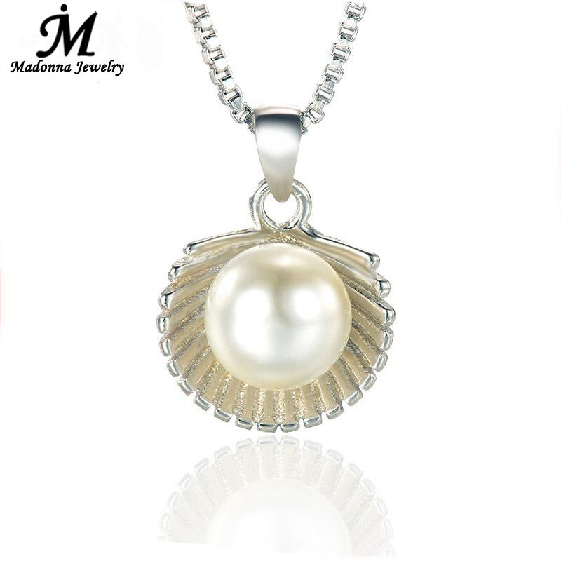 2016 Simple High Quality Silver Plated Pendant Korea ABS Imitation Pearls Scallop Shell Women Jewelry Elegant Girls Jewelry(China (Mainland))