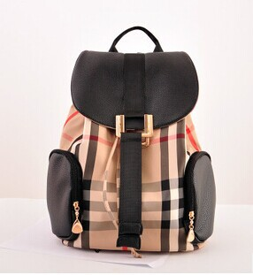 The new fashion elegant British wind grid double shoulder bags women backpack school bags girl travel bag canvas package(China (Mainland))