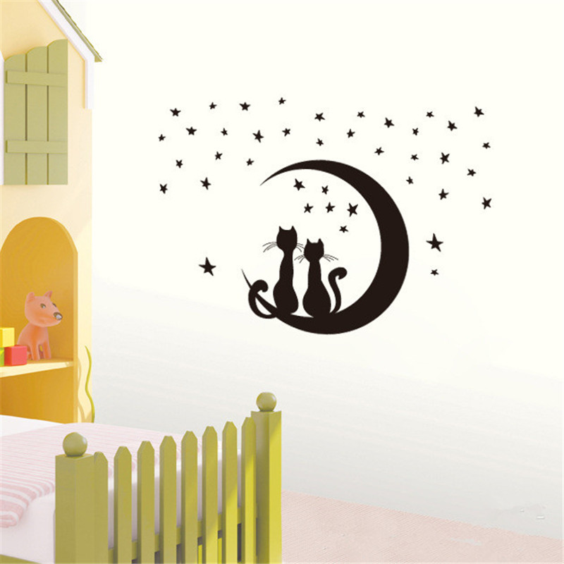1pcs 50 70cm Black Cat Lover Moon Star Wall Sticker Decoration For Home Room Decor