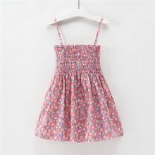 1-7 שנים ילדים ילדה קלע שמלות קיץ Chidlren בגדי פעוט בנות שמלת תינוק כותנה ללא שרוולים הדפסת פרח נסיכה שמלה(China)