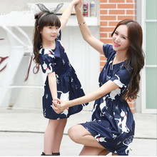 2016 new mother and daughter clothes kids girl cartoon dress family matching outfits dark blue short sleeve women summer dress