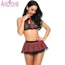 Buy Avidlove Women Sexy Lingerie Schoolgirl Student Plaid Uniform Costumes Outfit alter Bra + Mini Skirts Play Sexy Lingerie Hot