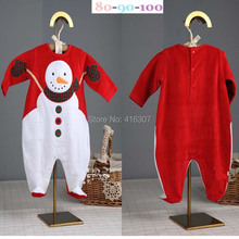 Fashionable  Newborn Baby long Sleeve Jumpsuit For Christmas Pure Cottorn With Snow Man Pattern Kids Clothing For Winter(China (Mainland))