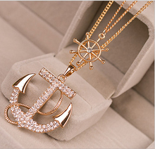 Fashion Women Chic Rhinestone Anchor&Rubber Pendants Necklace Long Chain Sweater Necklace 2 Colors Crystal Free shipping(China (Mainland))