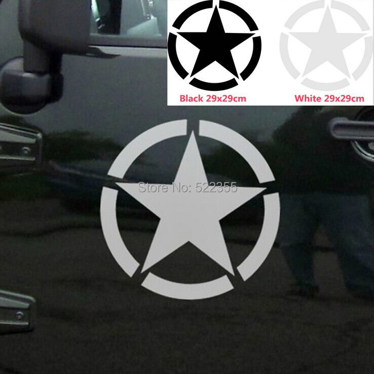 1Pcs,Big size 29CM US Army STAR Reflective decal for car door ,Global Free shipping trackable,Strong box pack(China (Mainland))