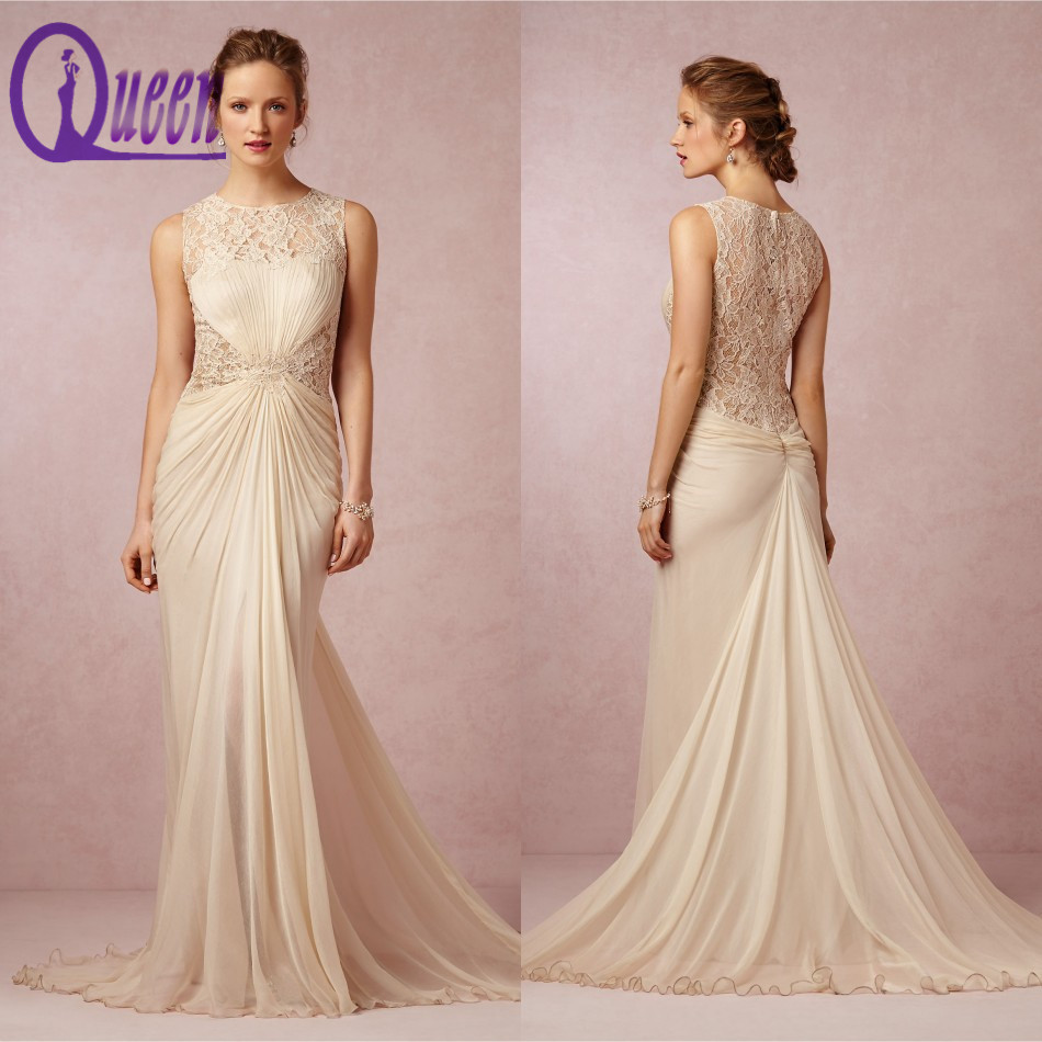 2014 elegant cap sleeve champagne colored vintage lace for Champagne colored wedding dresses with sleeves