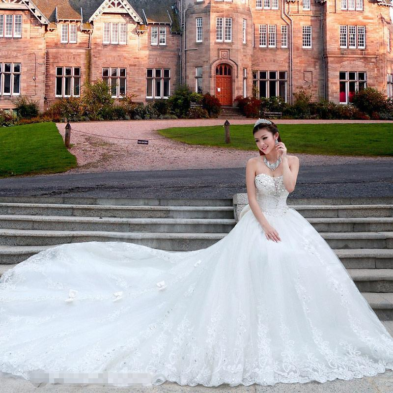 Ball Gown Wedding Dresses Long Trains : White bow royal train wedding dress luxury crystal
