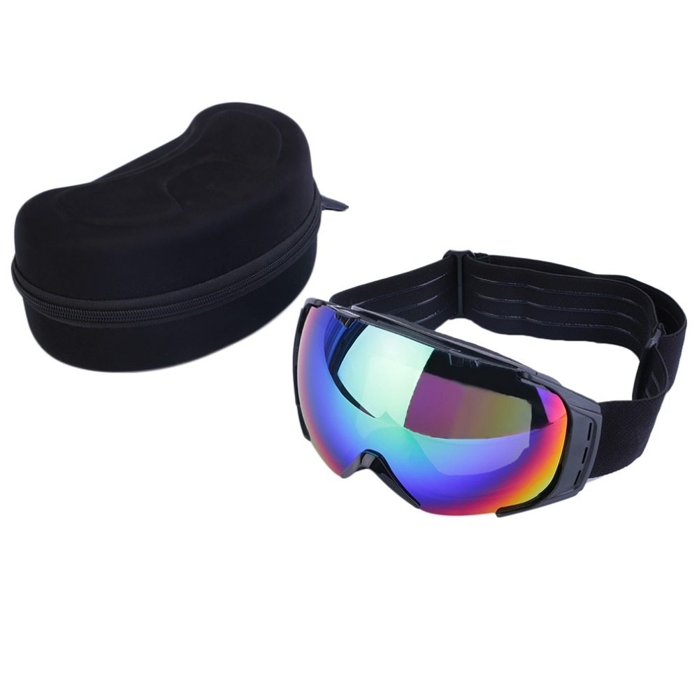 Hot! High Quality Adjustable non-slip Goggles Anti-Fog Snowboard Goggles Black Frame Double Lens ~~(China (Mainland))