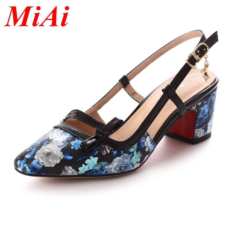 High quality women sandals 2016 fashion summer shoes woman sandals sexy square heels pointed toe red bottom party casual shoes<br><br>Aliexpress
