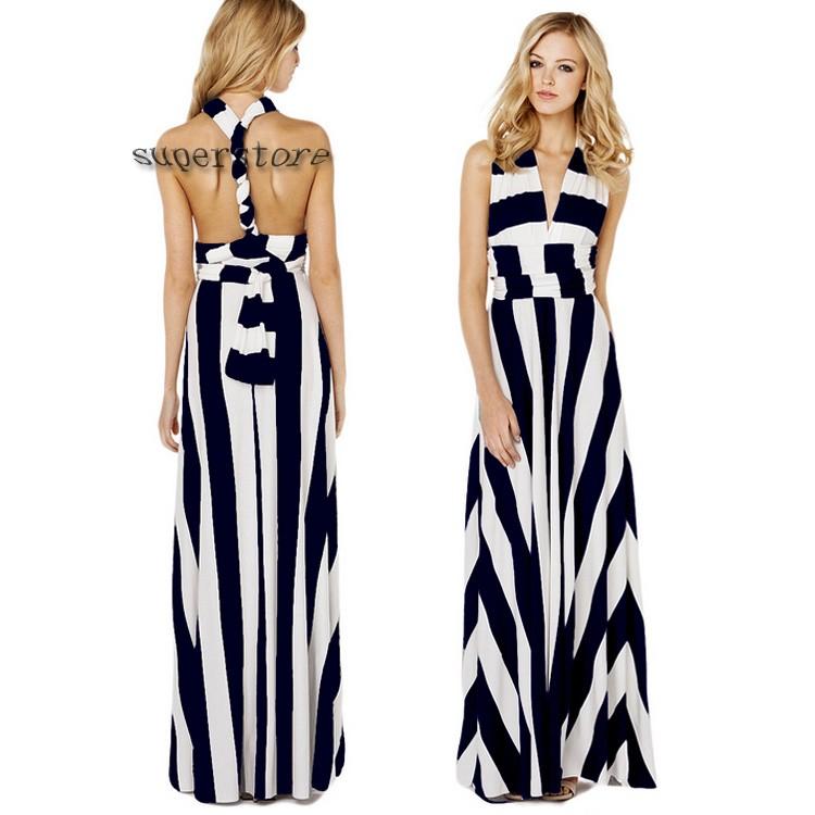 Sexy Women Chiffon Halter Backless Bandage Maxi Dress Long ...