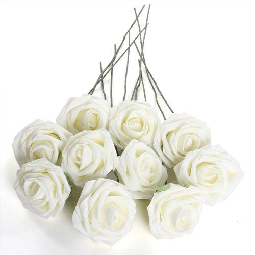 ABWE! Ivory Artificial Foam Rose Bouquet 10 PE Floral Wedding Decor 7cm(China (Mainland))