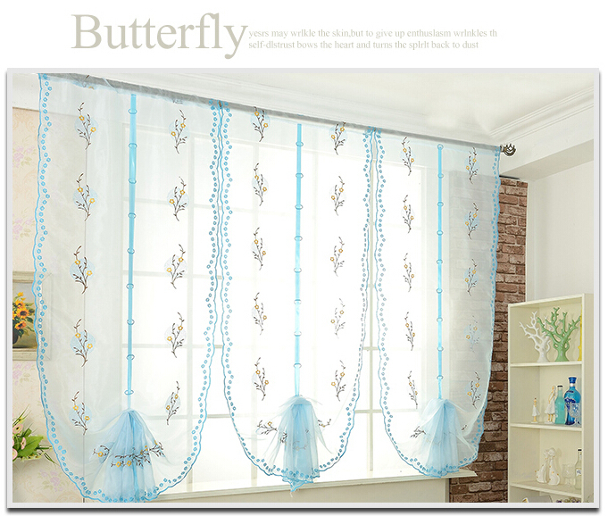 Embroidered balloon curtain dreamlike blue window screens butterfly liftable sheer curtain panel(China (Mainland))