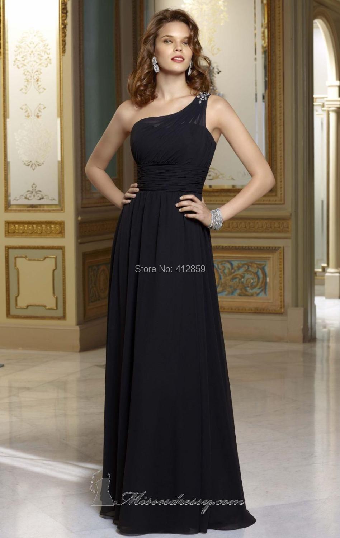 Elaborate one shoulder beaded strap floor length black for Wedding dresses one strap