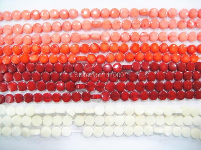 Red/Orange/White/Pink Coral natural beads--3x6mm Flat Round Natural beads 15 inch-free shipping(China (Mainland))