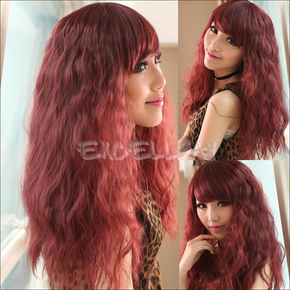 Гаджет  Lifelike Wine Red Oblique Bangs Wig Long Corn Perm Fluffy Curly Hair Wig  E1Xc None Изготовление под заказ