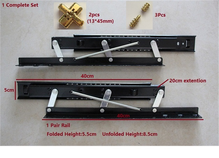 "40CM (16"") Dinning Table Top Desk Slide Rail Folding Extending Mechanism(China (Mainland))"