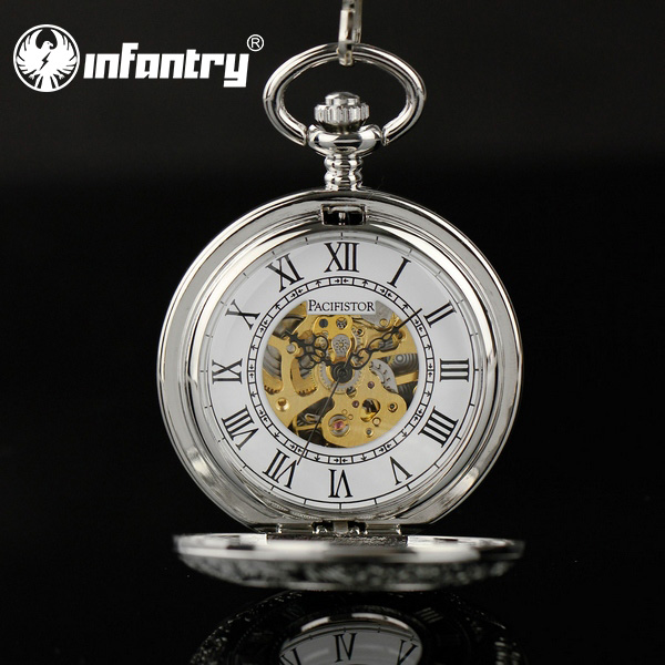 INFANTRY Men's Classic Vintage Style Mechanical Hand Winding Pocket Watches Silver Tone W/ Chain NEW 2015(Hong Kong)