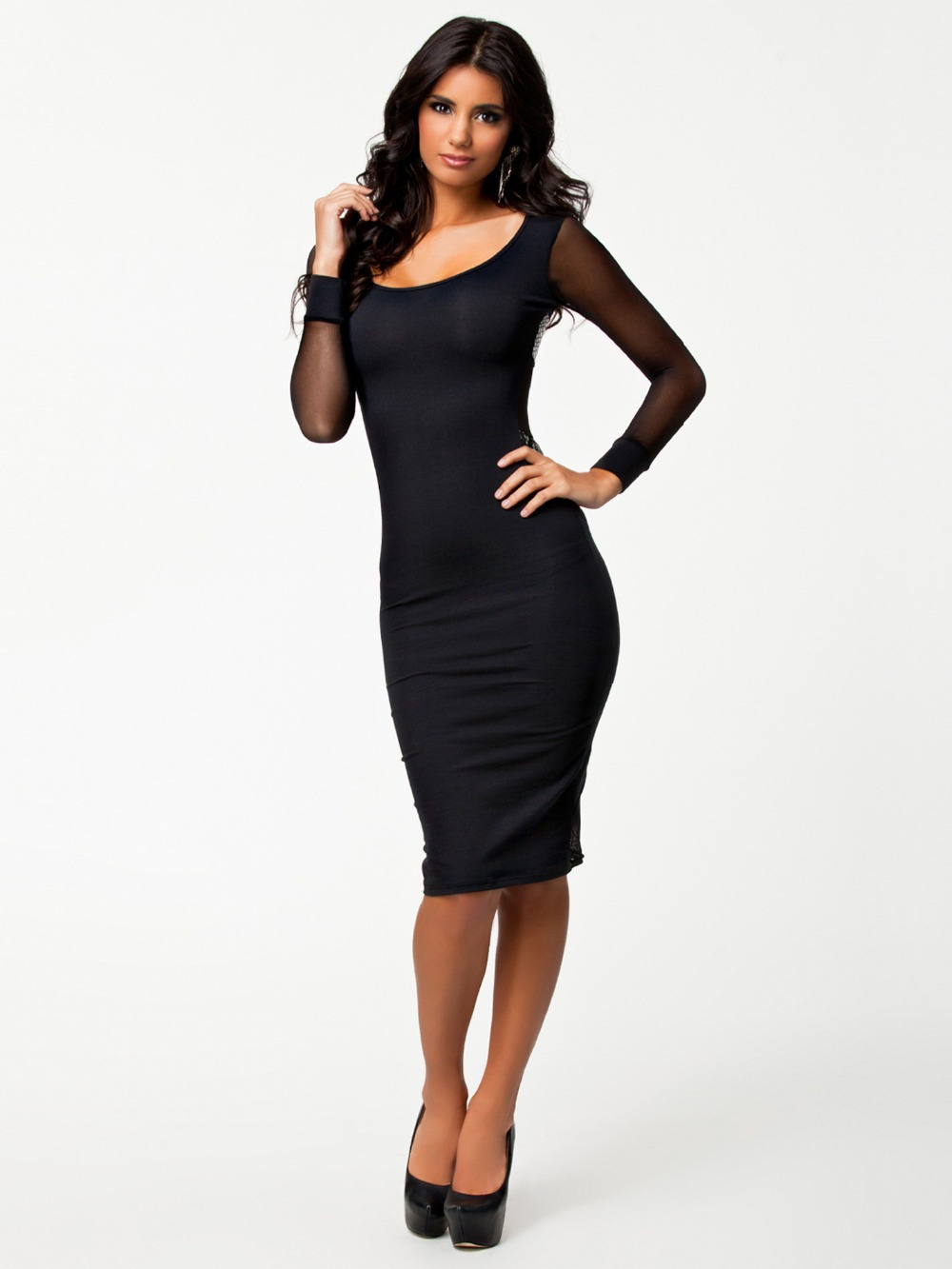 R7780 Long sleeve dress female 2015 Ohyeah company wholesale and retail dress black O-neck mesh high quality dresses for women(China (Mainland))