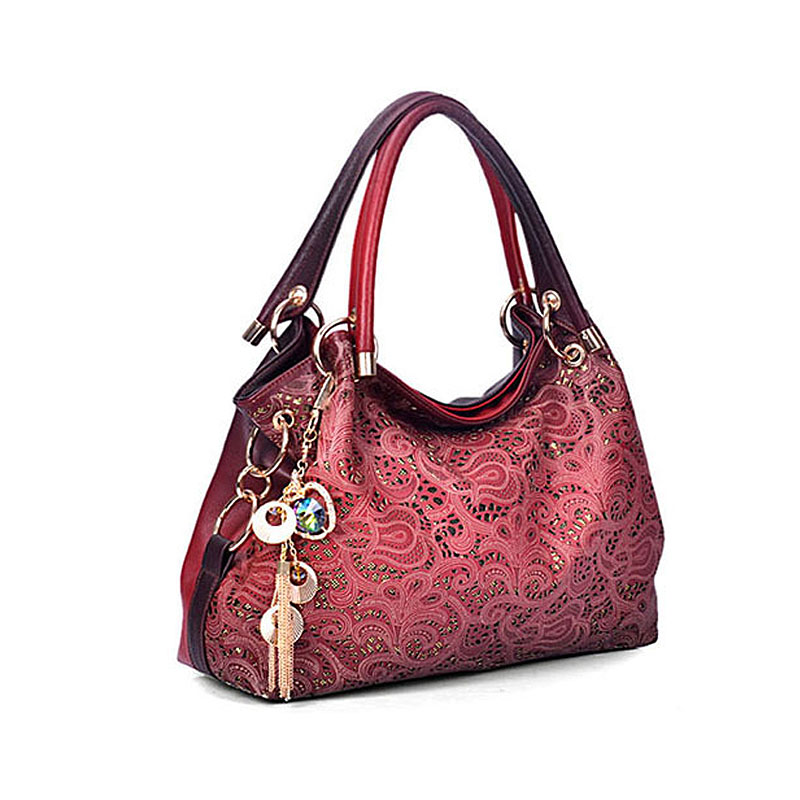 Women elegant bags 2016 luxury pu leather bags women handbag hollow out messenger bag diamond pendant red hand shoulder ladies(China (Mainland))