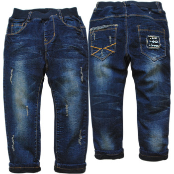 3818 children pants girls boys jeans kids jeans child jeans soft navy blue winter soft denim and fleece casual pants