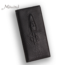 Buy Genuine Leather Men Long Crocodile Wallet Purse Luxury Compartment Zipper Coin Card Holder Clutch Portfolio Women Dollar Price for $8.15 in AliExpress store