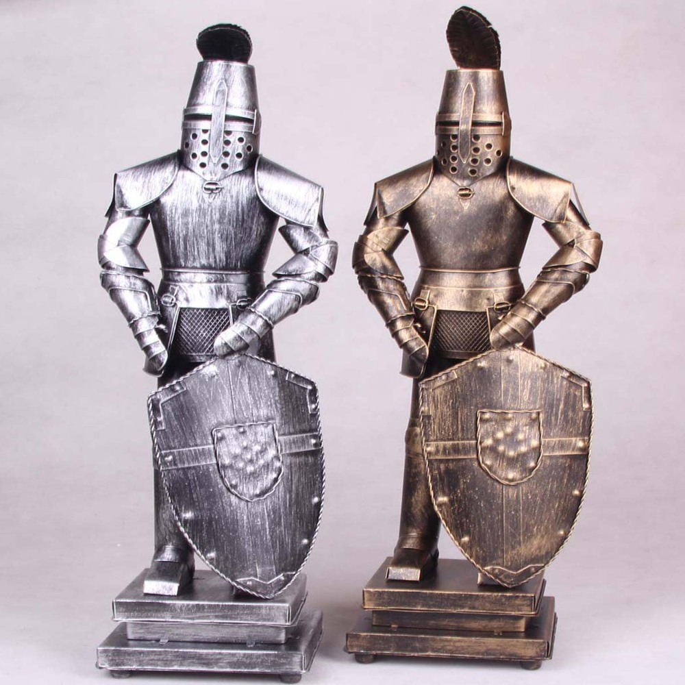 2 Color 50cm Vivid Middle Ages Armour Shield Warrior Rome Warriors Iron Model Statue Retro Craft Bar Ornaments Free Shipping(China (Mainland))