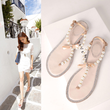 2014 bow women's flip-flop shoes rc t flip flops rhinestone pearl sandals female flat women's shoes size 33--43(China (Mainland))