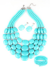 Jewlery sets african beads jewelry set aqua multi layer necklace bracelet earring sets(China (Mainland))