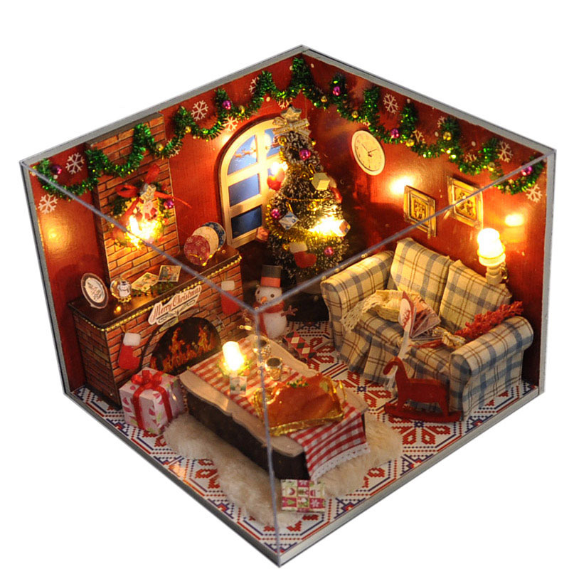 Christmas Gift Diy Wooden Doll House With Furniture&Light &Dust Cover Miniature Dolls for Houe 3D Puzzle DollHouse Toy Gifts(China (Mainland))