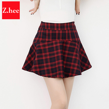 Mini Plaid Woolen Retro High Waist Skirts Womens font b Tartan b font Ball Gown Female