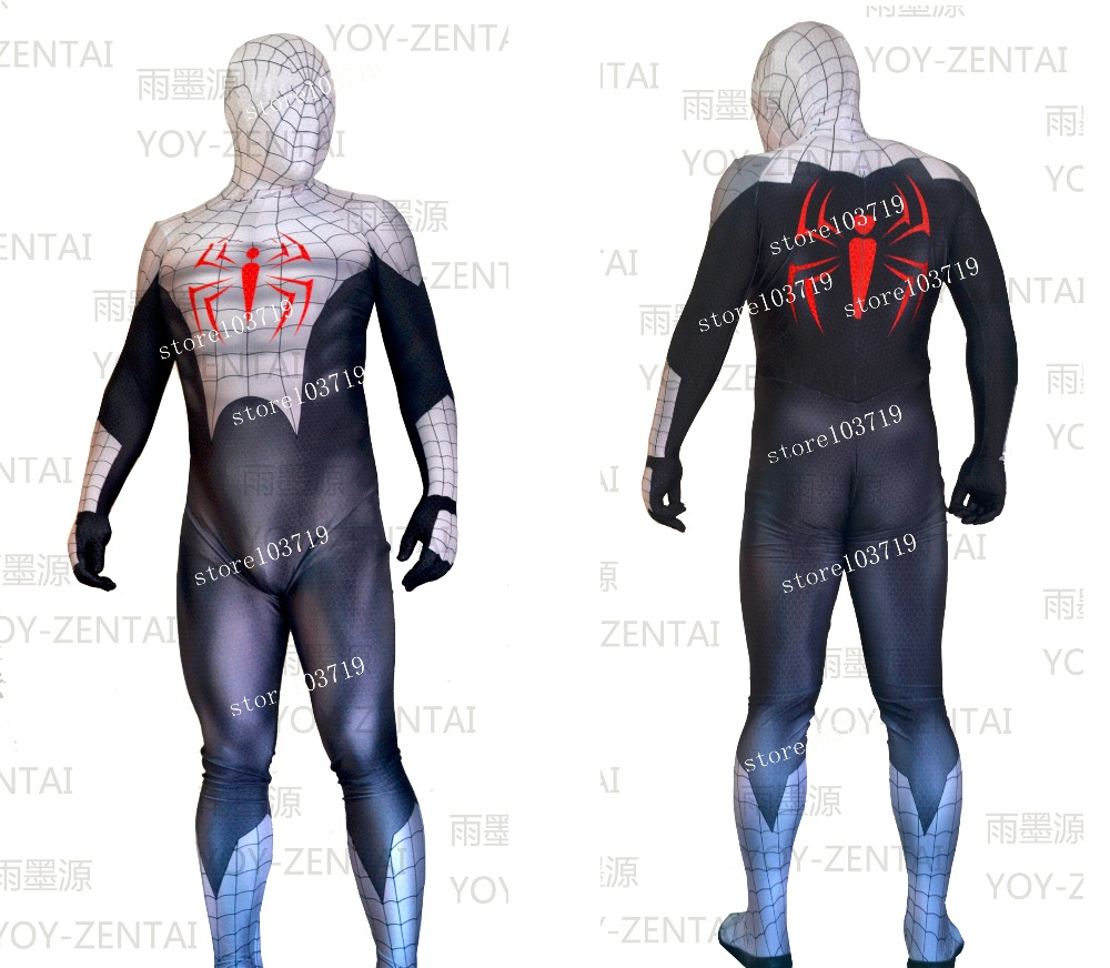Linglong Only Male M 170cm High Quality White Spider Man Cosplay Costume Suit Spandex Suit Spiderman Costume(China (Mainland))