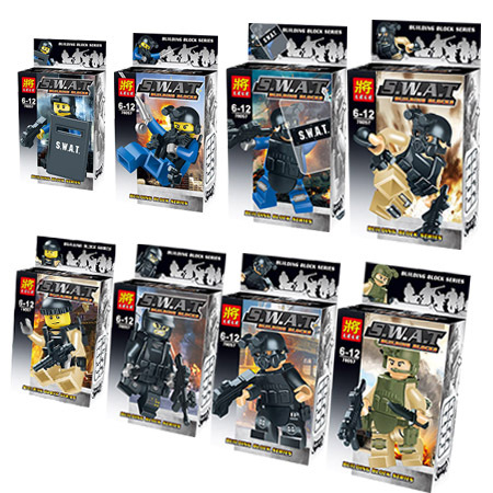 8pcs Police story anti-terrorism Guard Minifigure Building Blocks free shipping Compatible With Lego Baby toys LR-96(China (Mainland))