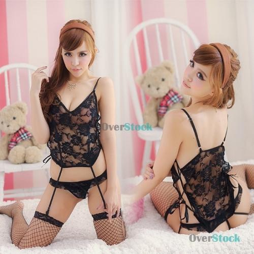 LauraDeal Big saving Super Fashion and Sexy Women Lingerie Deep-V Babydoll + Garter Belt + G-string 1173 Newly!!(China (Mainland))