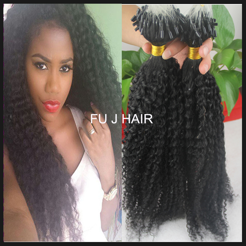 28 8a Hair Weave Afro Curly 1g Strand 100g I Tip Human Hair