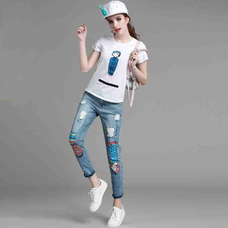 Casual suit women 2 piece pants set short sleeve character print white t shirt and trousers hole blue jeans 2016 summer clothing(China (Mainland))