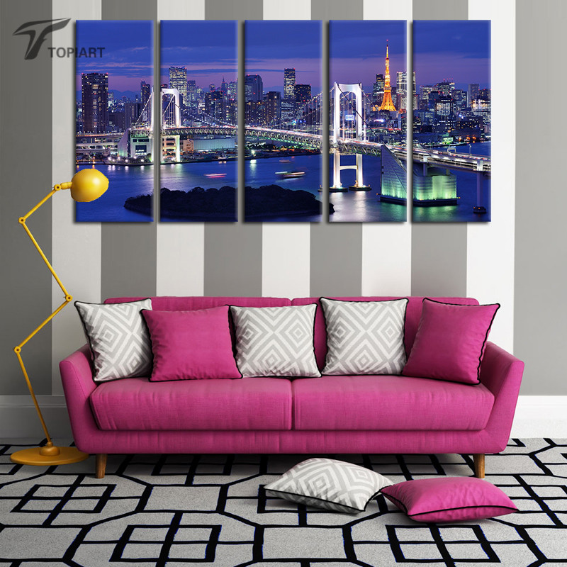 5 Panel Canvas Wall Art Tokyo Rainbow Bridge Painting Canvas Set Japanese Cityscape Night Wall Picture For Living Room No Frame(China (Mainland))