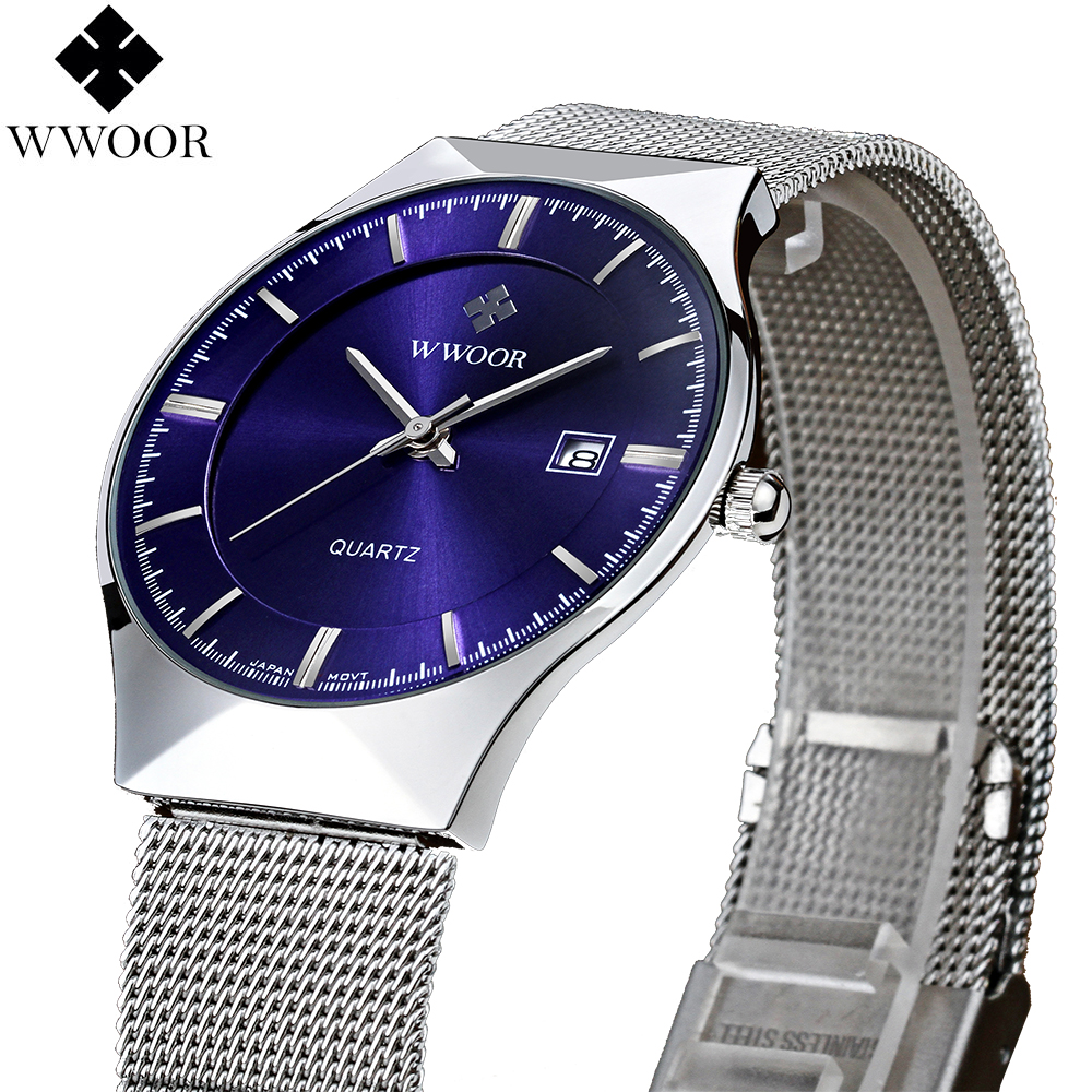 New Fashion top luxury brand WWOOR watches men quartz-watch stainless steel mesh strap ultra thin dial clock relogio masculino(China (Mainland))