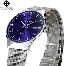 Buy New Fashion top luxury brand WWOOR watches men quartz-watch stainless steel mesh strap ultra thin dial clock relogio masculino for $16.36 in AliExpress store