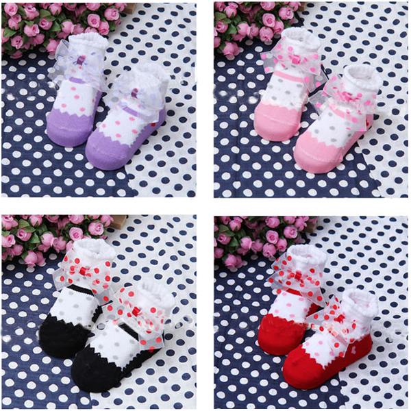 0-4 Years Baby Infant Unisex Cotton Anti Slip Ankle Socks Boots Bow Socks(China (Mainland))