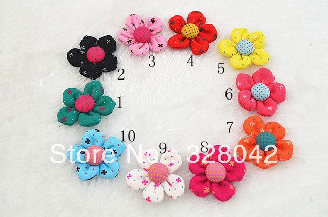 Trail order DIY handmade Dots fabric flower with Cotton Fabric Covered wrapped Buttons WITHOUT clip hair accesories 60pcs/lot
