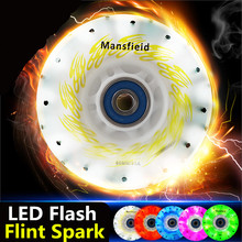 4 Pieces Flint Fire Stones Spark Inline Skates 85A Wheel, LED Flash Shining Roller Skate Wheels, Cool in Darkness Night(China (Mainland))