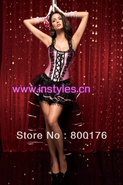 Free shiping walsonstyles 1315 pink Burlesque Corset & tutu Fancy dress costume Can Can outfit instyles(China (Mainland))