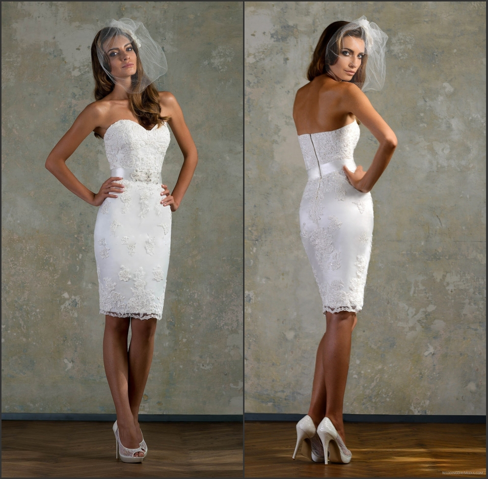hot lace white little bridal gown sweetheart short fitted ForKnee Length Fitted Wedding Dresses