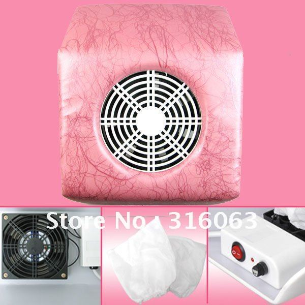 FREE SHIPPING 220V Pink Stripe Mini Size Nail Art Dust Suction Collector Vacuum Cleaner With Hand Rest Design + 2 Bags NA420