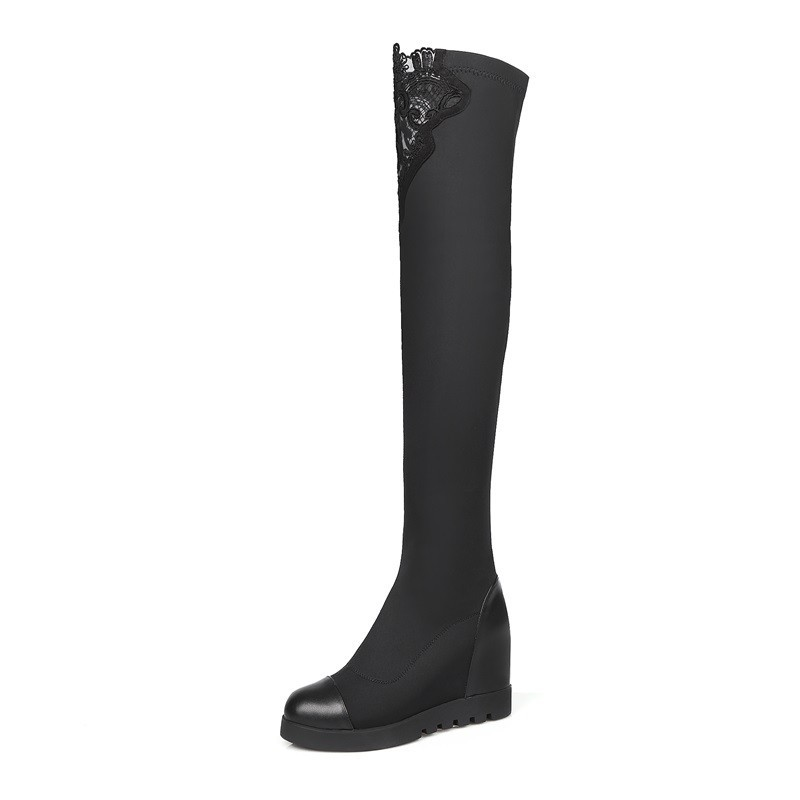 Wedges thigh high boots Fashion wild 2015 Autumn Winter lace up thigh high Black casual trend Slope with waterproof platform