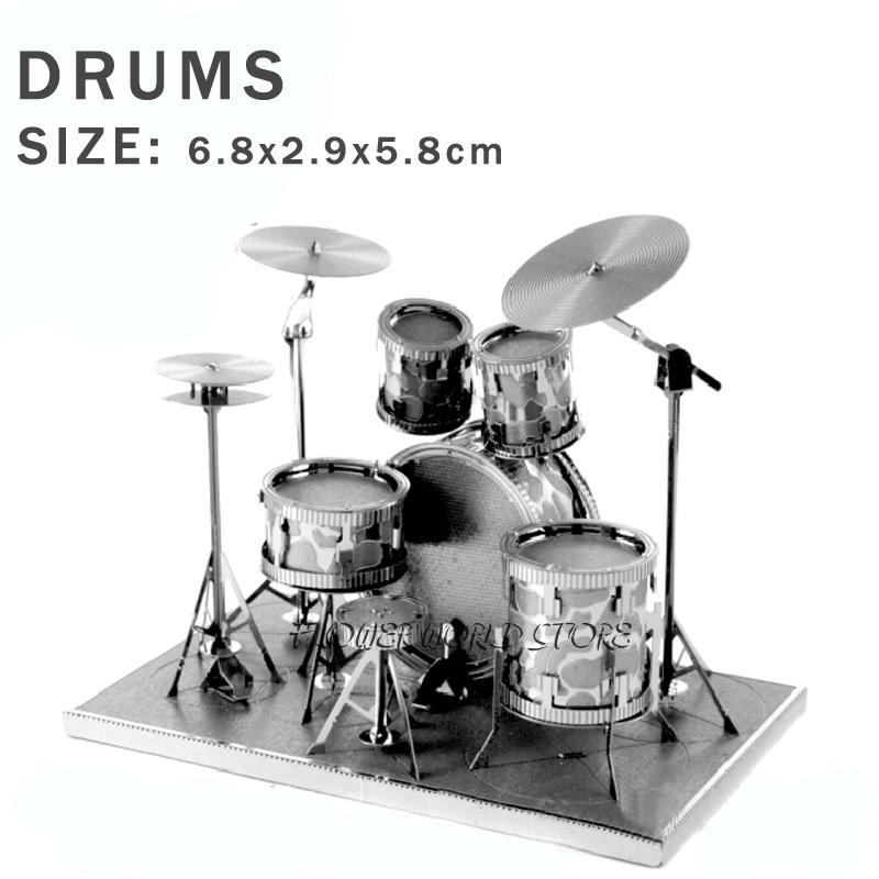 New creative Drums 3D puzzles 3D metal model Creative DIY Drum kit Jigsaws Adult/Children gifts toys Perfect details And many(China (Mainland))