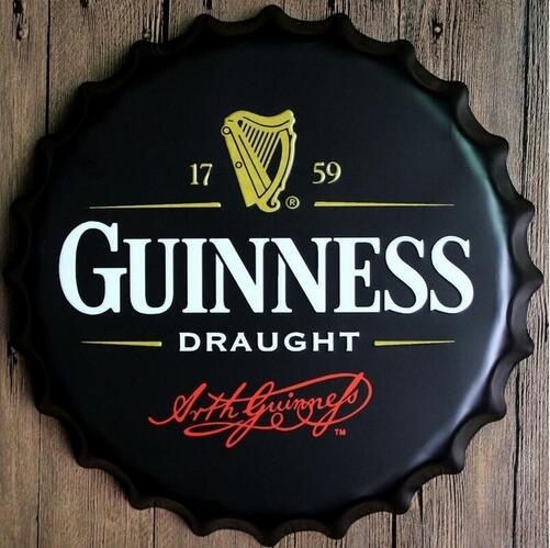 Guinness Draught 40CM Wand Decoratie Vintage Metal Bottle Cap Tin Signs Bar Garage Poster Custom Neon Sign Dies Feyenoord(China (Mainland))