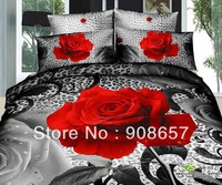 red rose flower black gray leopard skin printed girls bedding 3D oil painting bed linen cotton full queen duvet covers sets 4pc