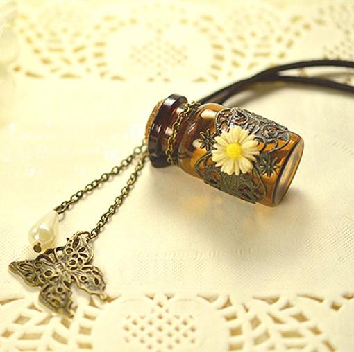Creative Flower Mosaic MINI Glass Essential Oil Bottle Aroma Perfume Pendant Modern Necklace Jewelry 5pcs/lot DC239(China (Mainland))